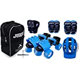 Jaspo Blue Derby Adjustable Senior Roller Skates Combo Suitable for Age Group 6 to 14 Years (Pro)