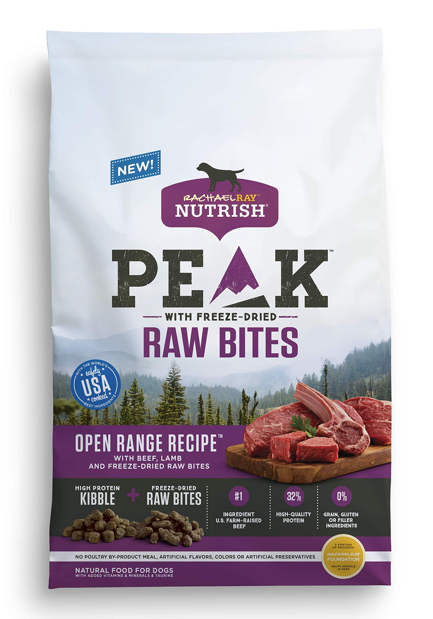 Rachael Ray Nutrish Peak Natural Dry Dog Food with Freeze Dried Raw Bites, Grain Free Open Range Recipe with Beef & Lamb, 12 lbs