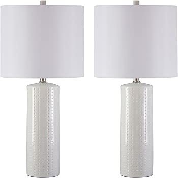 Ashley Furniture Signature Design   Steuben Textured Ceramic Table Lamp Set  With Drum Shades   Contemporary