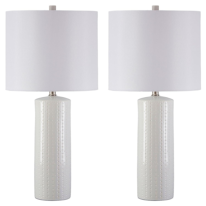 Ashley Furniture Signature Design -Steuben Textured Ceramic Table Lamp Set with Drum Shades - Contemporary - Set of 2 - White