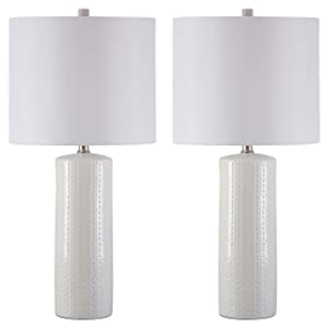 Ashley Furniture Signature Design -Steuben Textured Ceramic Table Lamp Set with Drum Shades - Contemporary - Set of 2 - White
