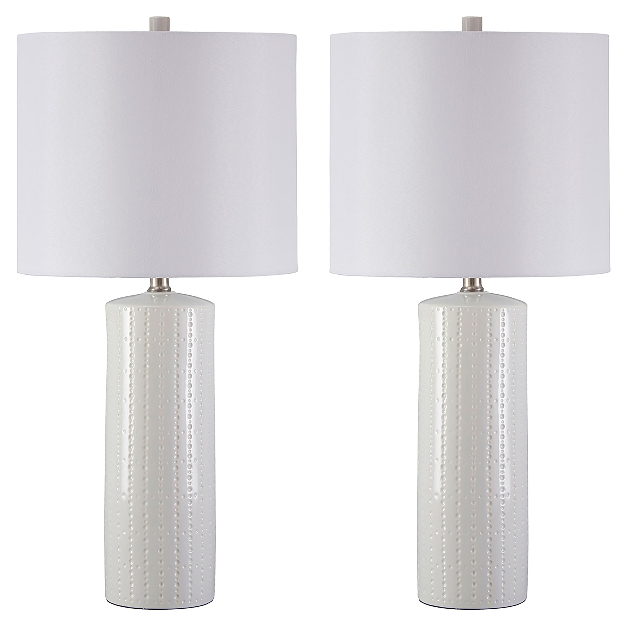 Ashley Furniture Signature Design -  Steuben Textured Ceramic Table Lamp Set with Drum Shades - Contemporary - Set of 2 - White