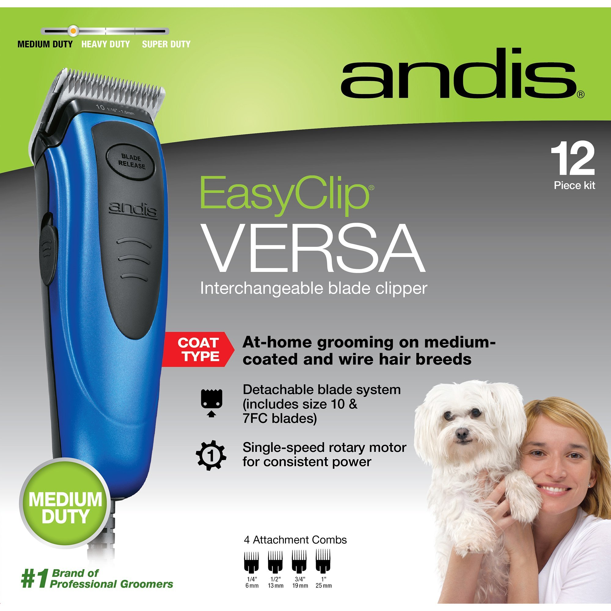 Andis EasyClip Versa Clipper Kit - Blue, Pet Grooming, RACD (60130)