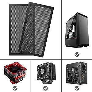 MoKo 120240mm Dust Filter for Computer Cooler Fan, [2 Pack] Magnetic Frame PC Fan Dust Mesh PC Cooler Filter Dustproof PVC Cover Computer Fan Grills - Black