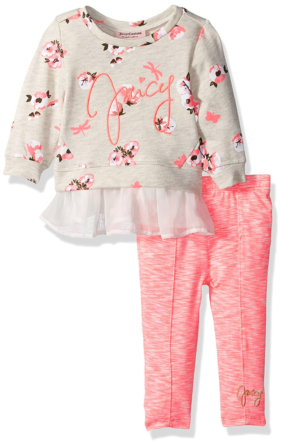 f8ce9e4270 Floral printed top with Juict logo across chest. Pink elasticized waist  leggings with Juicy logo at the bottom. Long sleeves. On trend Juicy Couture  outfit ...