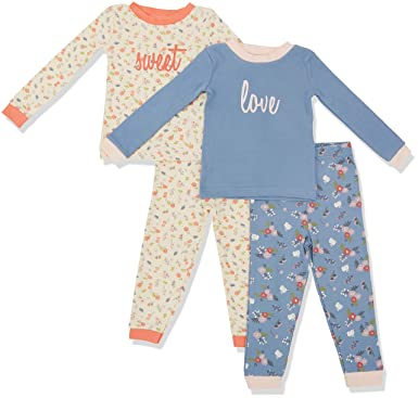51039ece65 Amazon.com  Asher   Olivia Pajamas for Girls 4 Pc Cotton Pj Set for Baby  Toddler Little Kid  Clothing