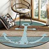 Rustic Wood Anchor Area Rug Round Rugs 3ft, Nautical Ocean Collection Area Runner Circle Rug (Non-Slip) Carpets Kids…