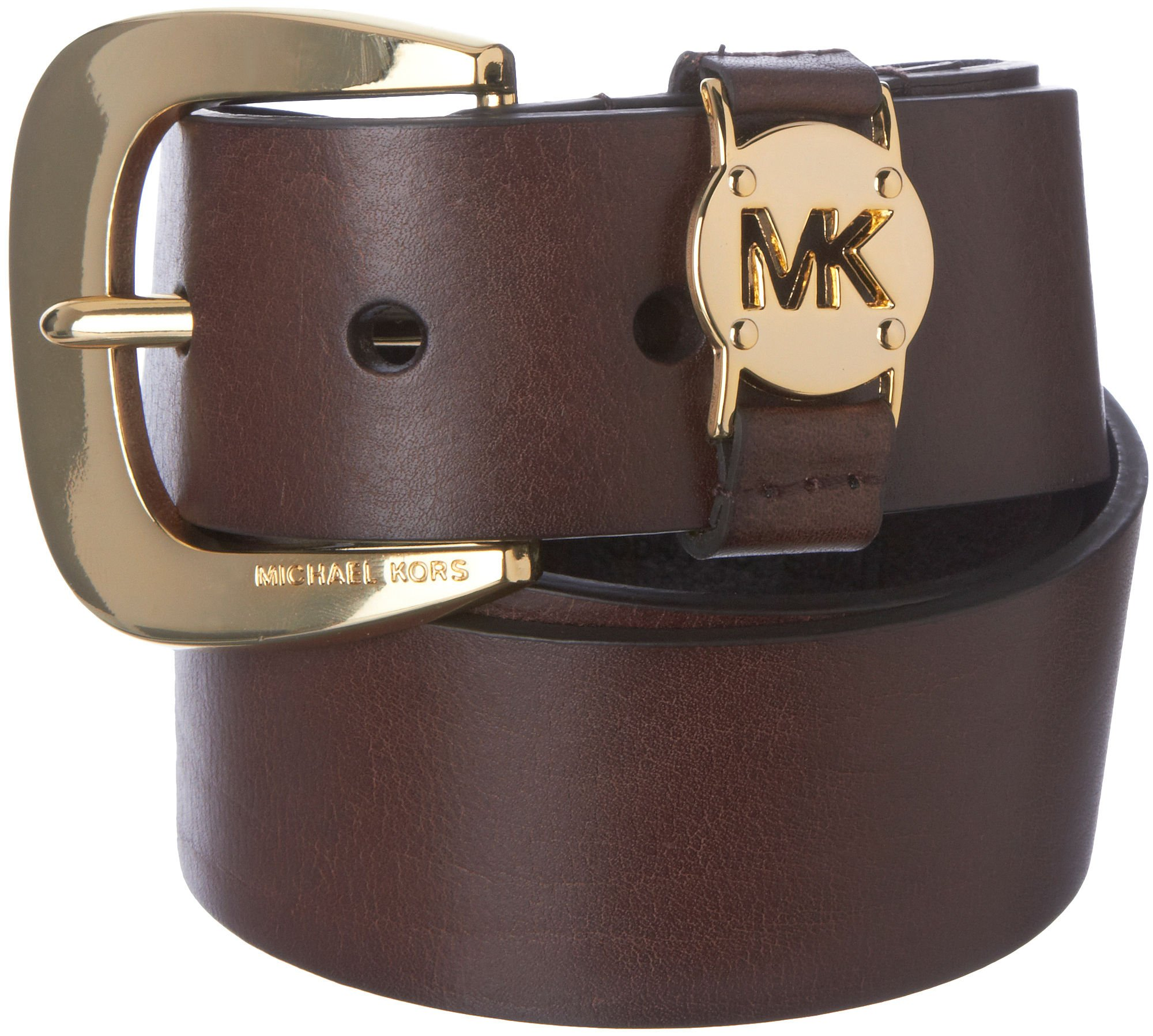 MICHAEL Michael Kors Leather Cutout Logo Belt Chocolate Gold L by MICHAEL Michael Kors