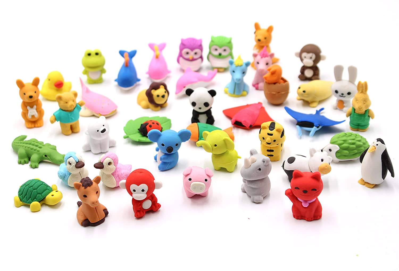 Set da 32 pezzi collezione di adorabili gomme per matita a forma di animali dello zoo regalo per bambini e per San Valentino