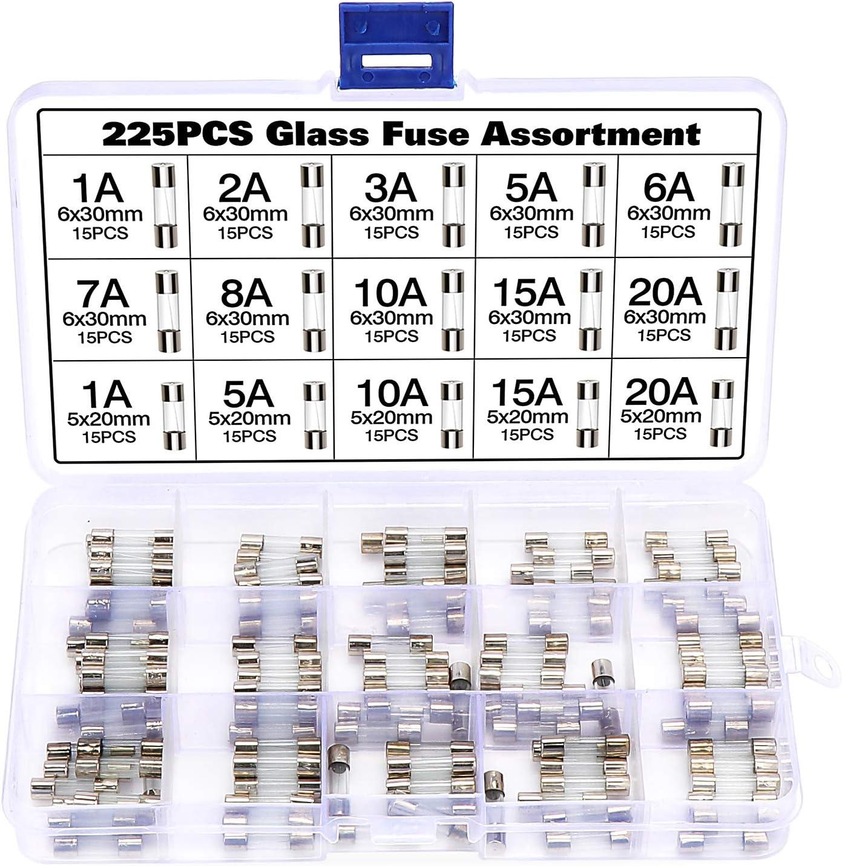 Wimas 225 Stück Glasrohrsicherung Glass Fuse Glas Tube Elektronik
