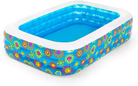 Bestway 54120 - Piscina Hinchable Infantil Rectangular Flores 229x152x56 cm: Amazon.es: Jardín