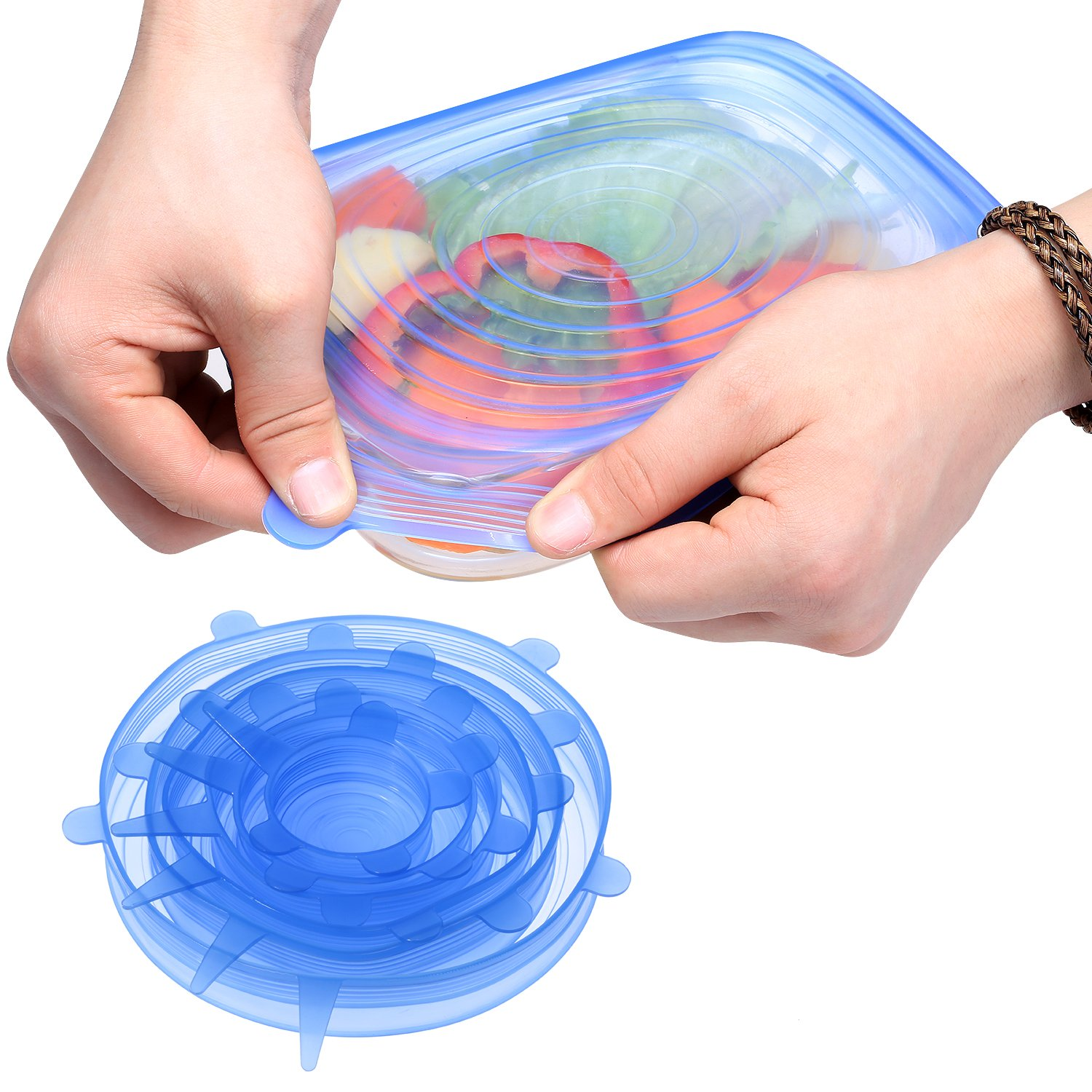 Marx Silicone Stretch Lids,Set of 6 Multi Size Reusable Silicone Lids Food and Bowl Covers,Dishwasher and Freezer Safe (Blue)