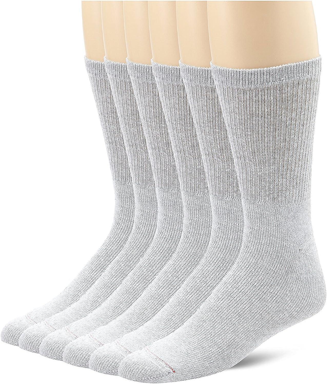 Hanes Men's Cushion Crew Socks 6-Pack_Grey