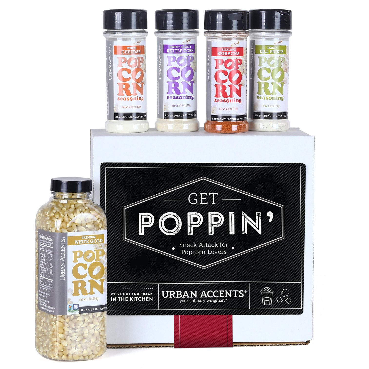 Urban Accents GET POPPIN' Snack Attack for Popcorn Lovers Gift Set, Hostess Gift For Any Occasion