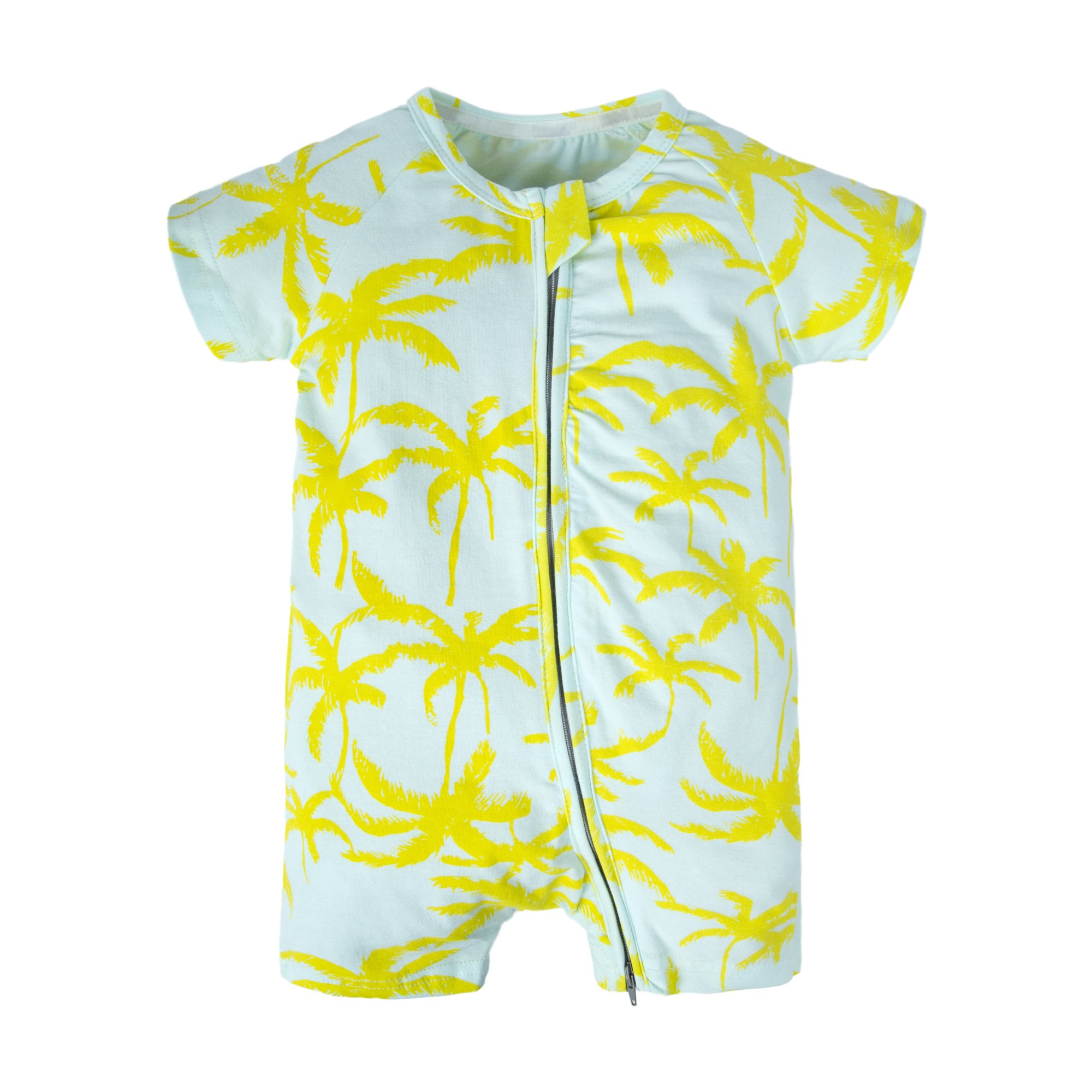 BIG ELEPHANT Baby Girls'1 Piece Summer Short Sleeve Pajama Graphic Zipper Romper Style I U14-100 18-24 Months