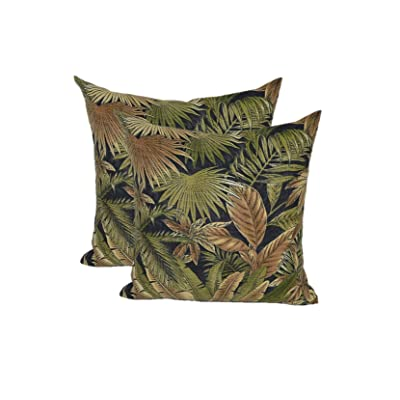 "Resort Spa Home Decor Set of 2 - Indoor/Outdoor Square Decorative Throw/Toss Pillows - Made with Tommy Bahama Bahamian Breeze - Black Green Tan Tropical Palm Leaf - Choose Size (17"" x 17""): Home & Kitchen"