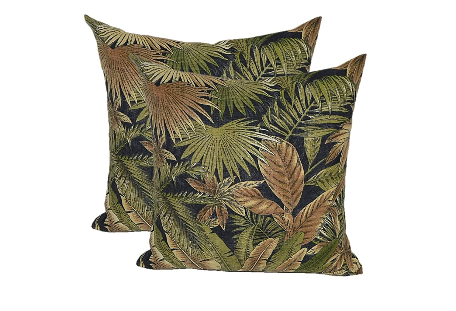 Set of 2 – Indoor Outdoor Square Decorative Throw Toss Pillows – Tommy Bahama Bahamian Breeze – Black Green Tan Tropical Palm Leaf – Choose Size 17 x 17
