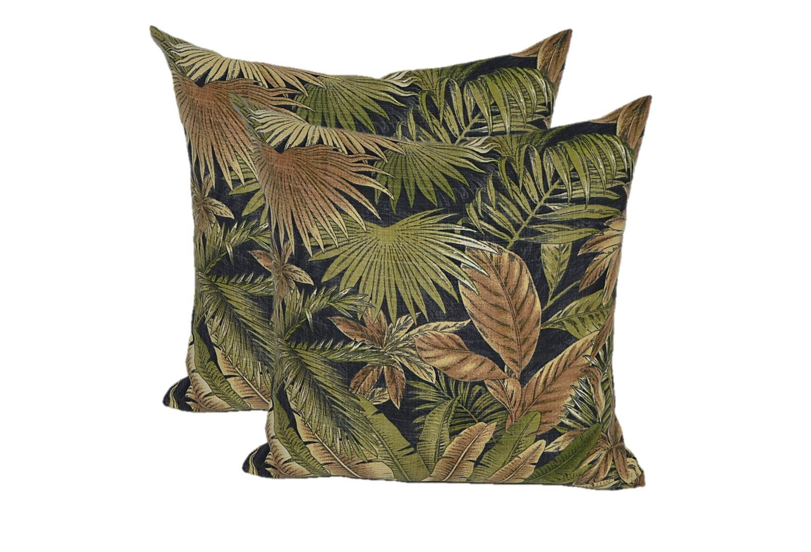 Set of 2 - Indoor / Outdoor Square Decorative Throw / Toss Pillows - Tommy Bahama Bahamian Breeze - Black Green Tan Tropical Palm Leaf - Choose Size (17'' x 17'')