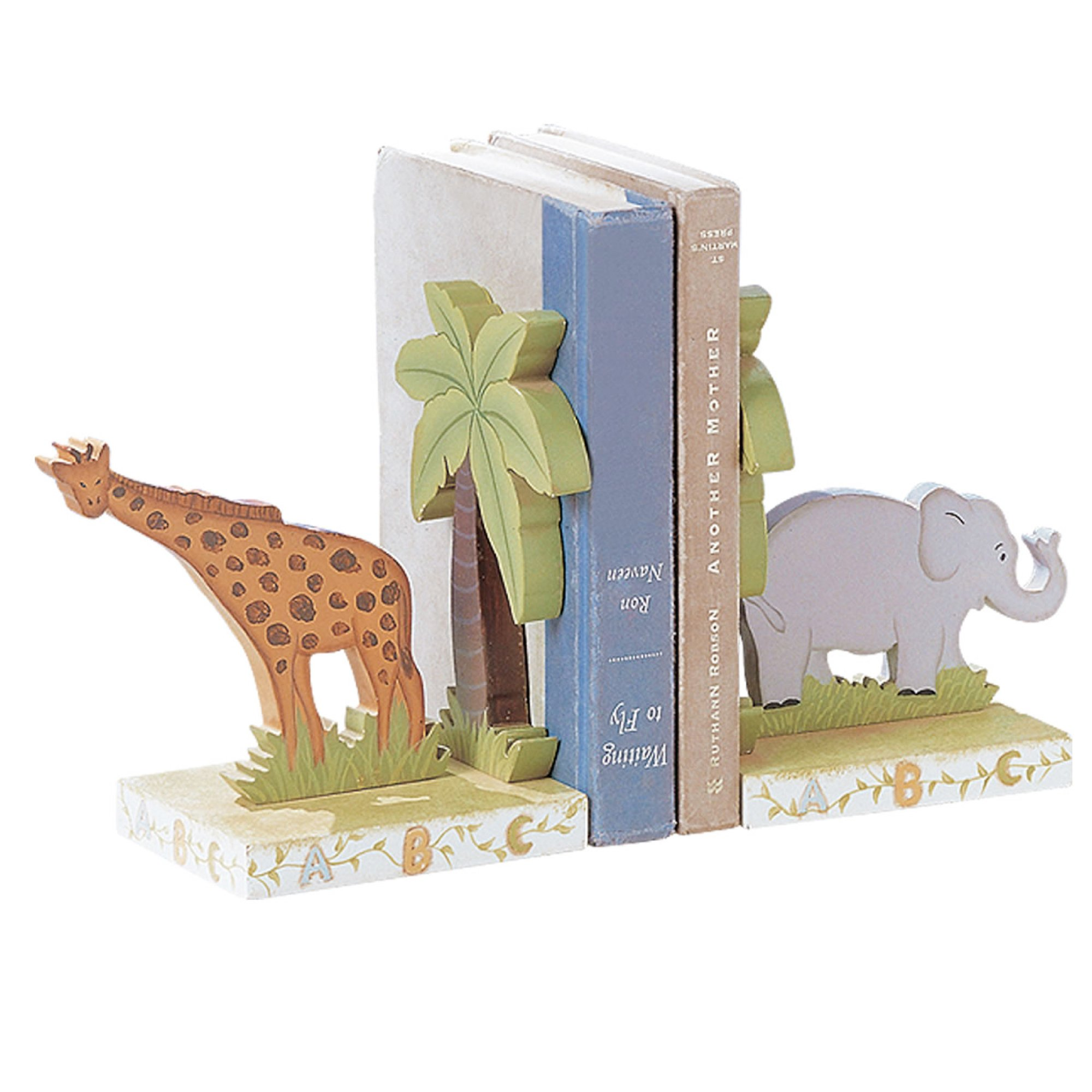 Teamson Design Corp Fantasy Fields - Alphabet Thematic Set of 2 Wooden Bookends for Kids | Imagination Inspiring Hand Crafted & Hand Painted Details   Non-Toxic, Lead Free Water-based Paint