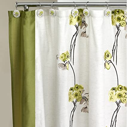Popular Home The Canteen Flower Collection Fabric Shower Curtain Lime