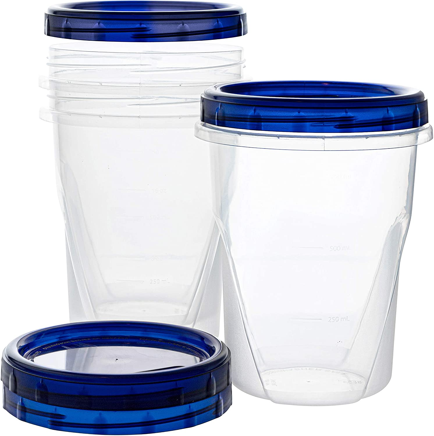 [32 oz 3 Pack]Twist Top Deli Containers Clear bottom With blue Top Twist on Lids Reusable, Stackable, Food Storage Freezer Container