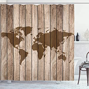 Ambesonne Vintage Old World Map Shower Curtain, Globe of Continents Theme on Wooden Antiqued Rustic Background Grunge Style Décor, Cloth Fabric Bathroom Decor Set with Hooks, 70