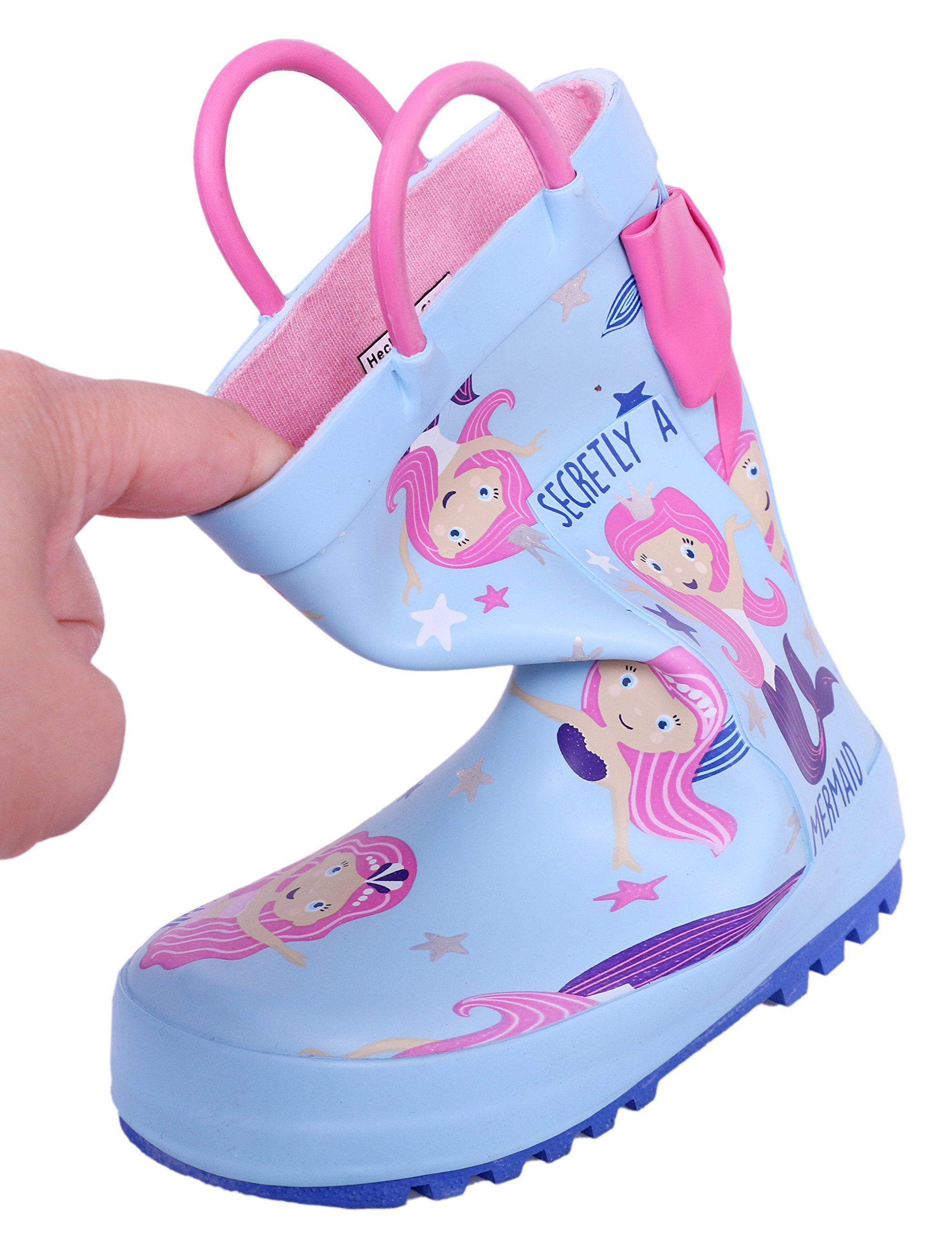 SHOFORT Girls' Rain Boots Rubber Handles Toddler, Size 9 by SHOFORT (Image #4)