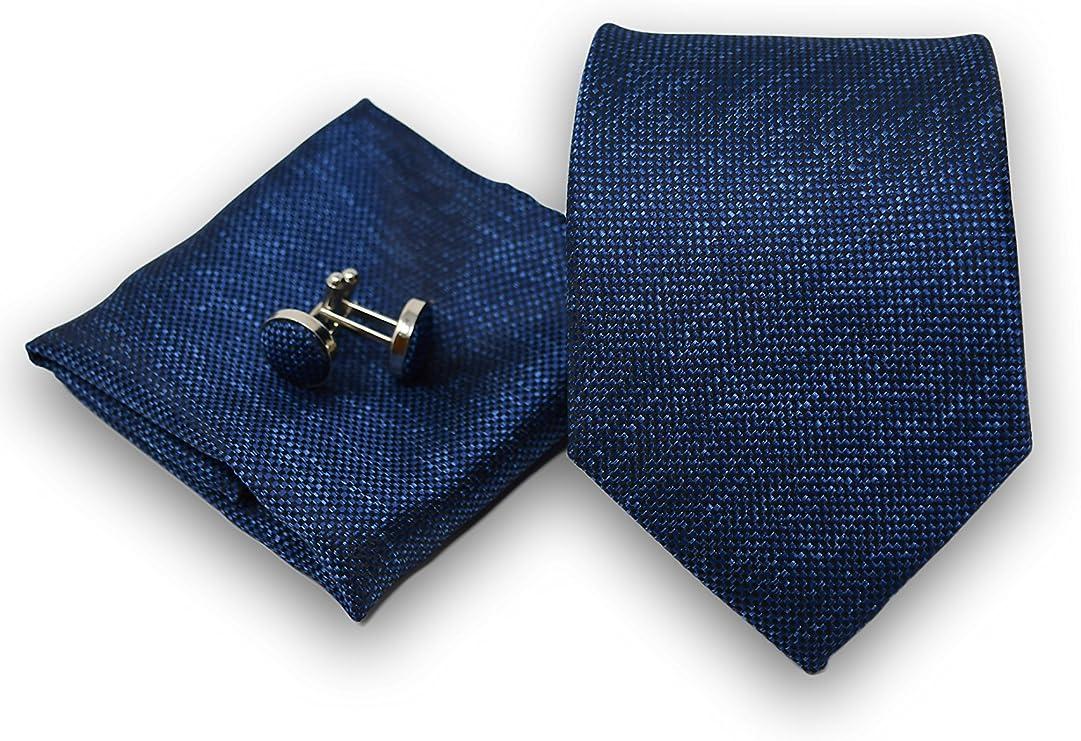 Corbata de hombre, Pañuelo de Bolsillo y Gemelos Azul Oscuro - 100 ...