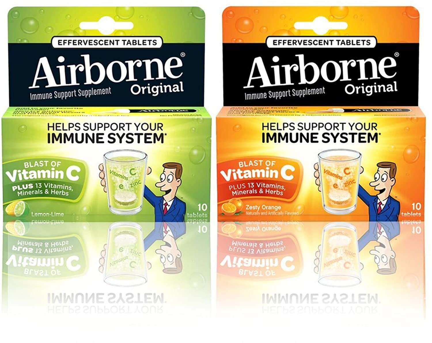 Airborne Immune Support Effervescent Value Pack Tablets, Lemon Lime & Zesty Orange Flavored- 1000mg Vitamin C With Echinacea, Ginger, Amino Acid Blend, Zinc, & Selenium, Gluten Free, 10 Count (1 each)
