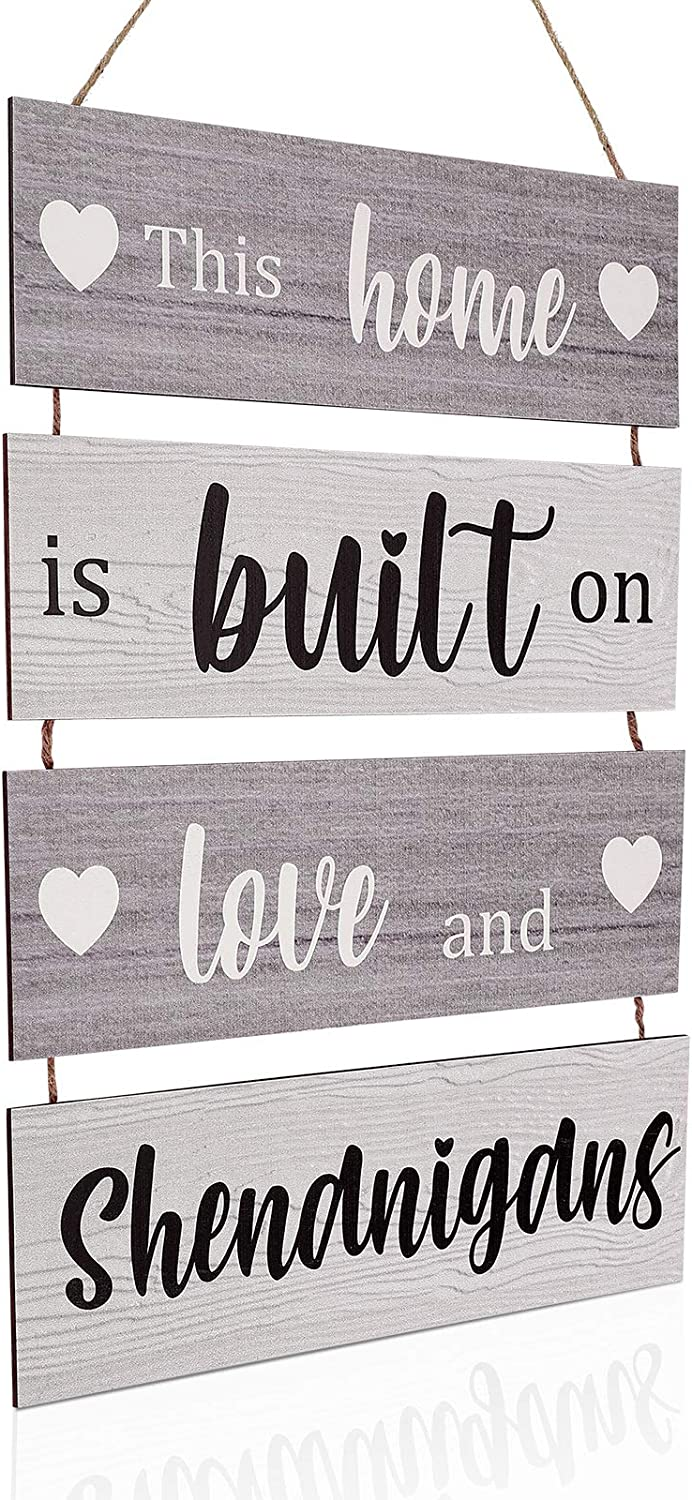 Home Sign Large Hanging Wood Sign Family Rustic Wall Decor Farmhouse Decoration for Living Room Bedroom Indoor Outdoor, This Home is Built on Love and Shenanigans (Light Cool Colors)