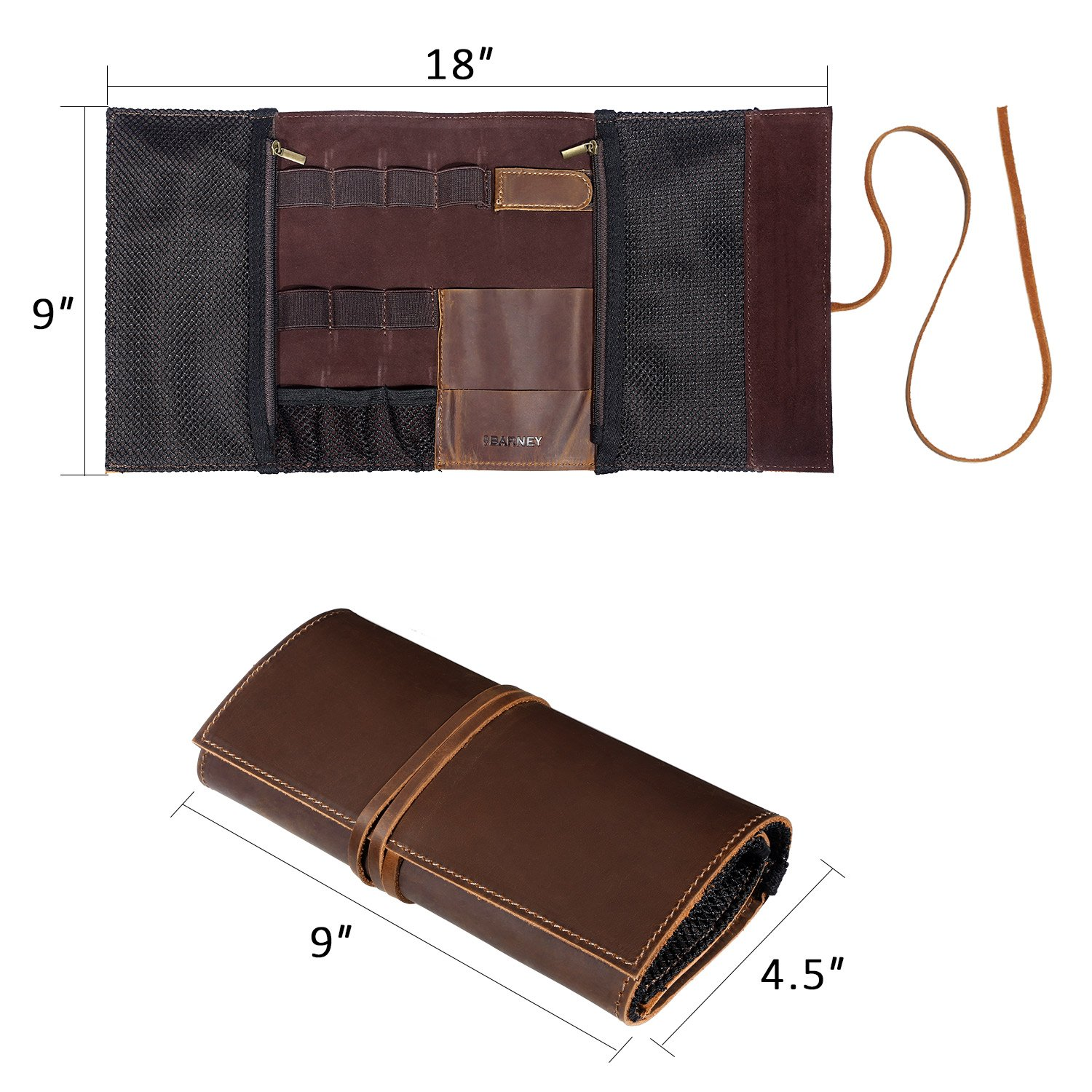 Genuine Crazy Horse Leather Electronics Organizer Roll Bag Travel Pouch for USB Cable, SD Card, Charger, Earphone, Passport, Cash, Coins, Hard Drive by BY BARNEY by BY BARNEY (Image #4)
