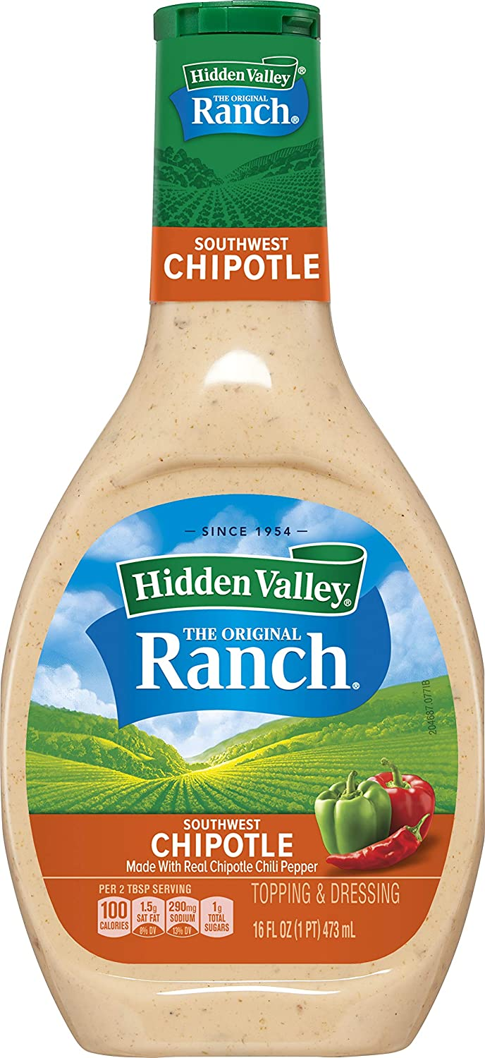 Hidden Valley Farmhouse Originals Southwest Chipotle Salad Dressing & Topping, Gluten Free - 16 Ounce Bottle (Package May Vary)
