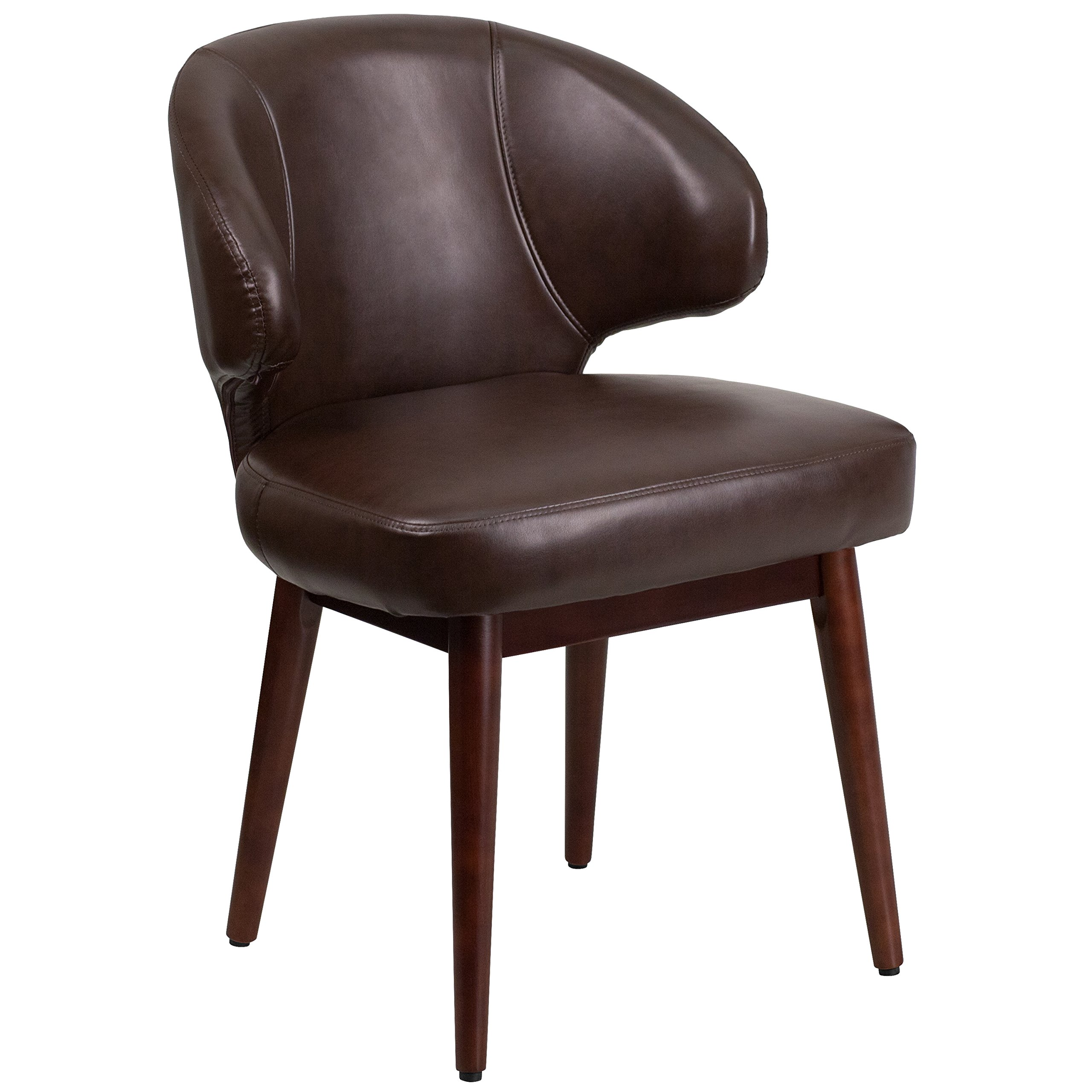 Flash Furniture Comfort Back Series Brown Leather Side Reception Chair with Walnut Legs by Flash Furniture