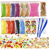 OPount 15 Pack Colorful Styrofoam Foam Balls for Slime 0.08-0.35 Inch with Slime Tools and Fruit Slice for Slime Making Art DIY Craft
