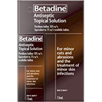Betadine Antiseptic Topical Solution - Treat Minor Cuts and Abrasions - Contains Povidone-Iodine, 15milliliters