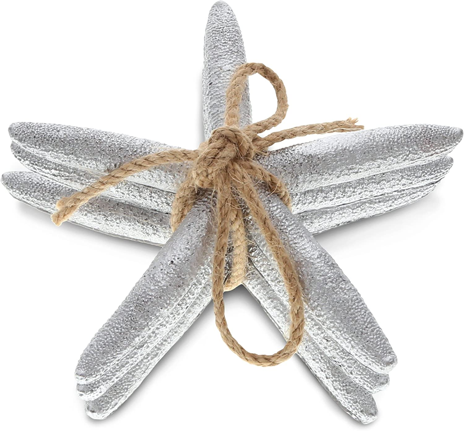 CoTa Global Silver Starfish Ornaments in Twine, 5 inch, Tabletop Figurines Resin Art Handcrafted Decoration Figure Nautical Coastal Beachy Ocean Sea Life Crafts Home Accent Decor (3pc Set)