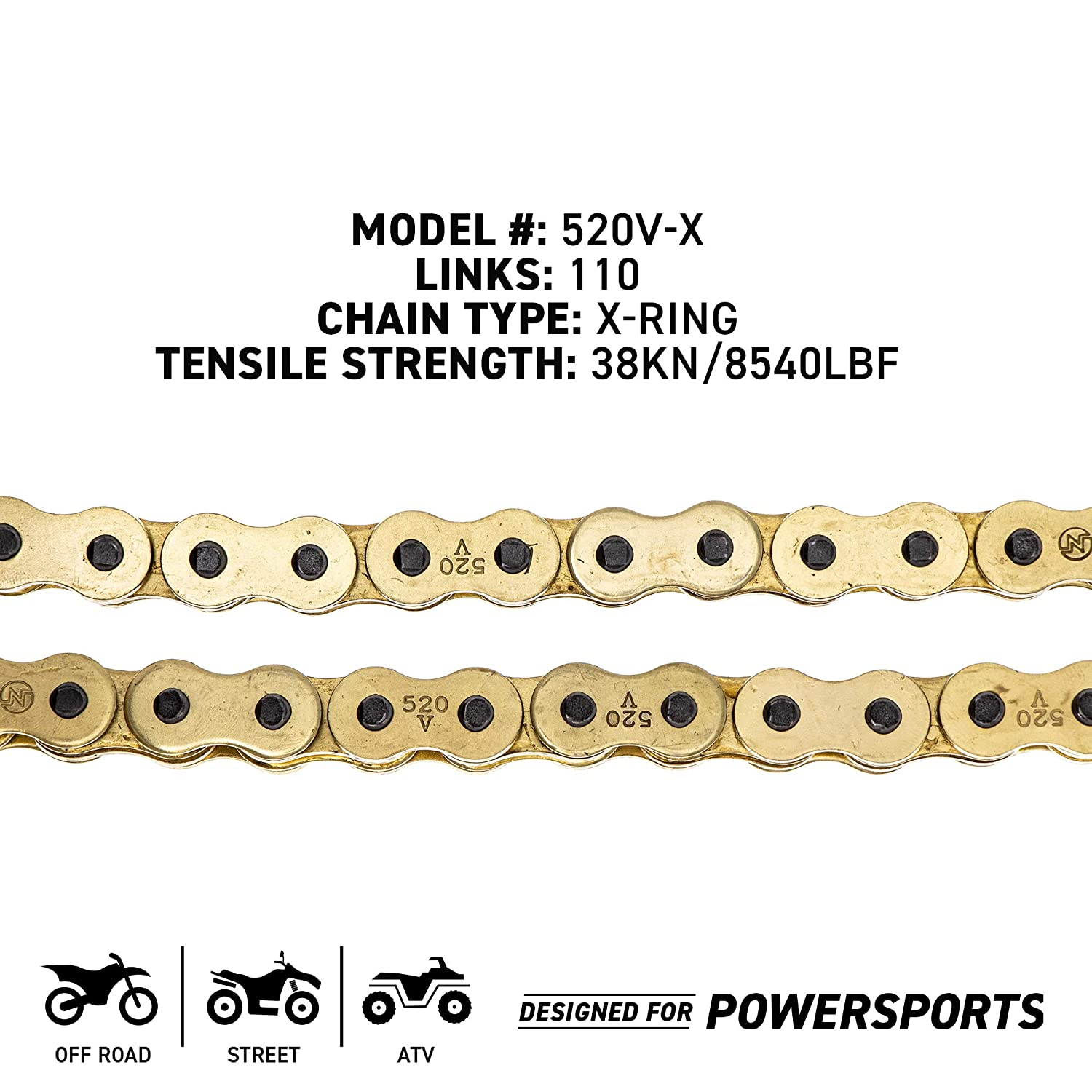 NICHE Gold 520 X-Ring Chain 88 Links With Connecting Master Link
