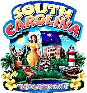 South Carolina State Montage Wood Fridge Magnet 2