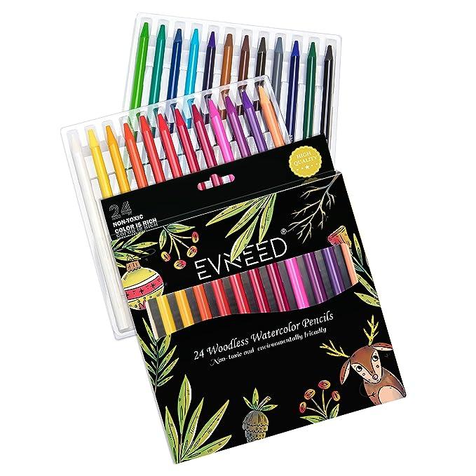 Amazon.com: woodless lápices de acuarela, evneed 24 lápices ...