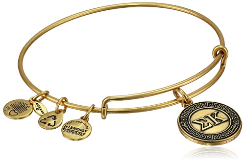 "Alex and Ani ""Sorority"" Sigma Kappa Expandable Rafaelian Gold-Tone Wire Bangle Bracelet"