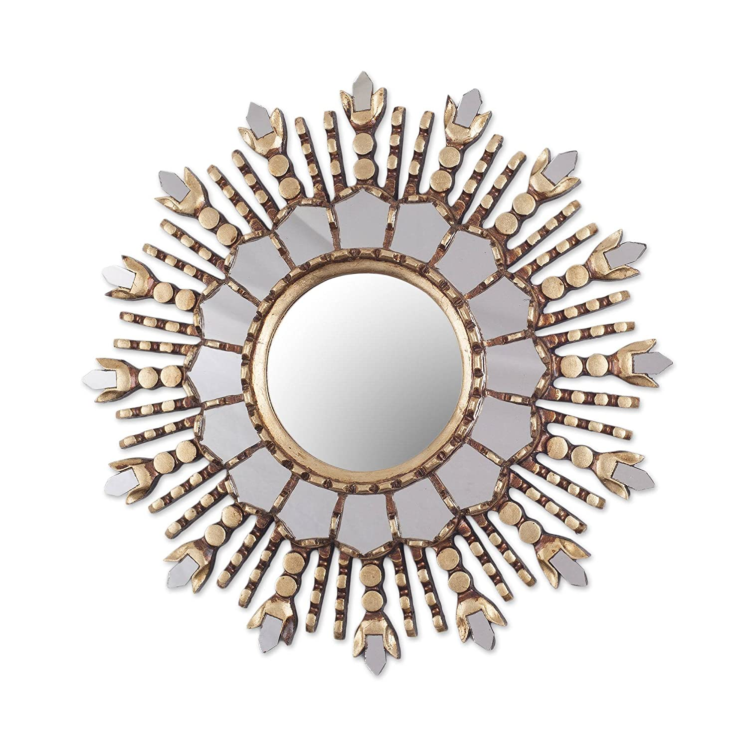 NOVICA Cedar Wood and Bronze Leaf Wall Mounted Starburst Mirror, Cuzco Radiance'