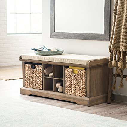 Contemporary Coastal Driftwood Finish Shoe Storage Cubby Bench Entryway  Seat With Baskets U0026 Cushion