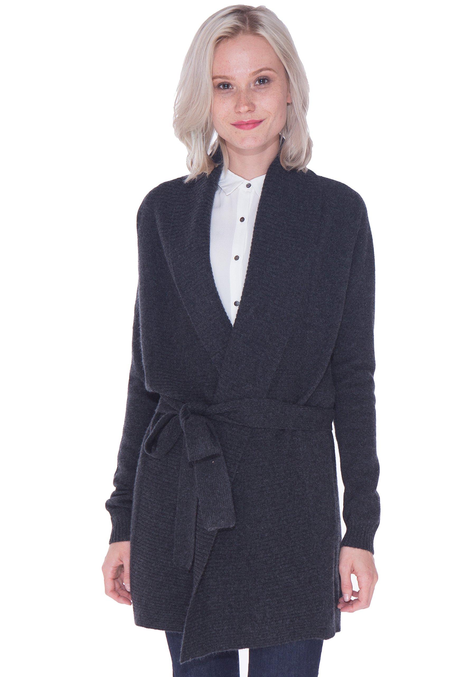 LEBAC Women's 100% Cashmere Ribbed Shawl Collar Long Cardigan Waist Tie Jacket by LEBAC