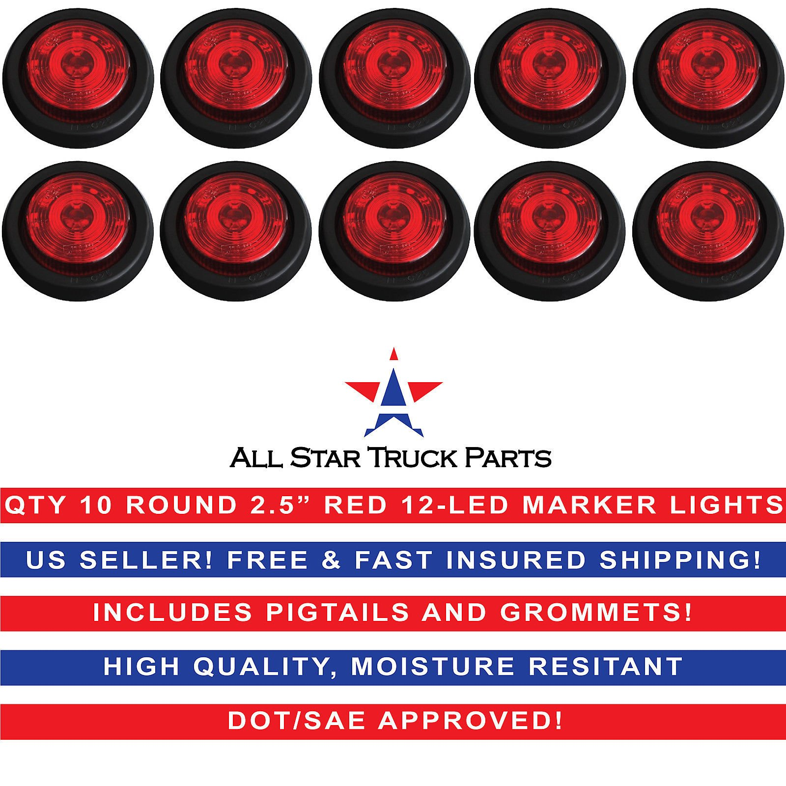 Qty 10-2.5'' Round 12 LED Red Light Truck Trailer Side Marker Clearance Grommet Kit by All Star Truck Parts