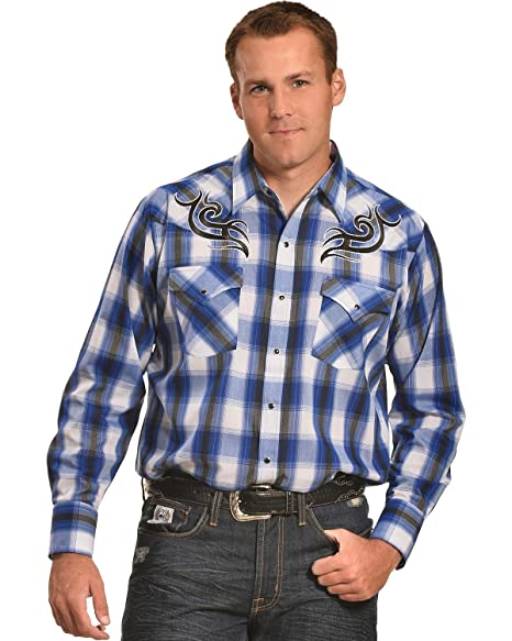8bc68599dd8 ELY CATTLEMAN Men s Navy Plaid Embroidered Western Shirt Navy X-Large