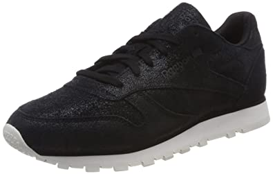 Reebok Classic Leather Shimmer Womens Sneakers Black cc8c8c703273