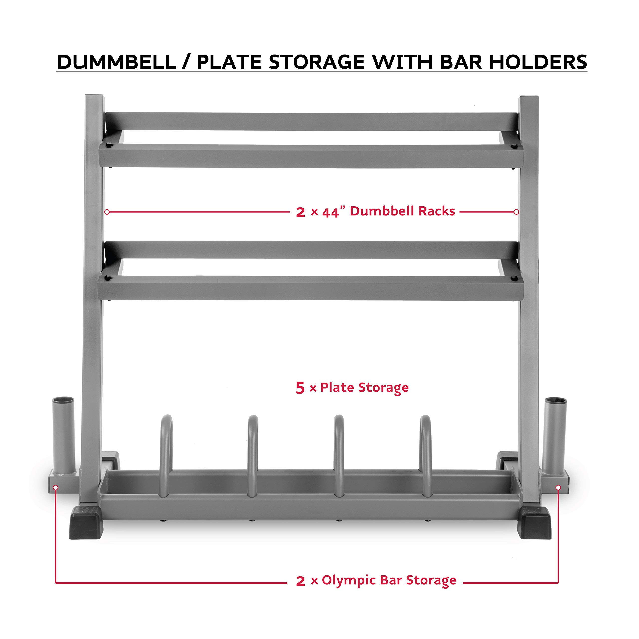 XMark All-in-One Dumbbell Rack, Plate Weight Storage and Dual Vertical Bar Holder, Design Patent Pending by XMark (Image #2)
