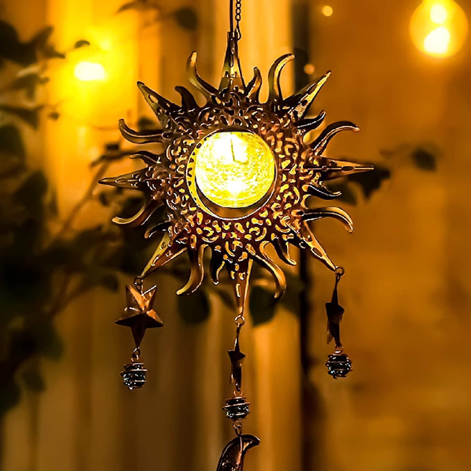 Aodue Wind Chimes, Crackle Glass Solar Lights with Hooks, Hanging Waterproof Solar Powered Windchimes, Sun Moon Stars Combo, Decor for Gifts Home Outside Patio Lawn Garden