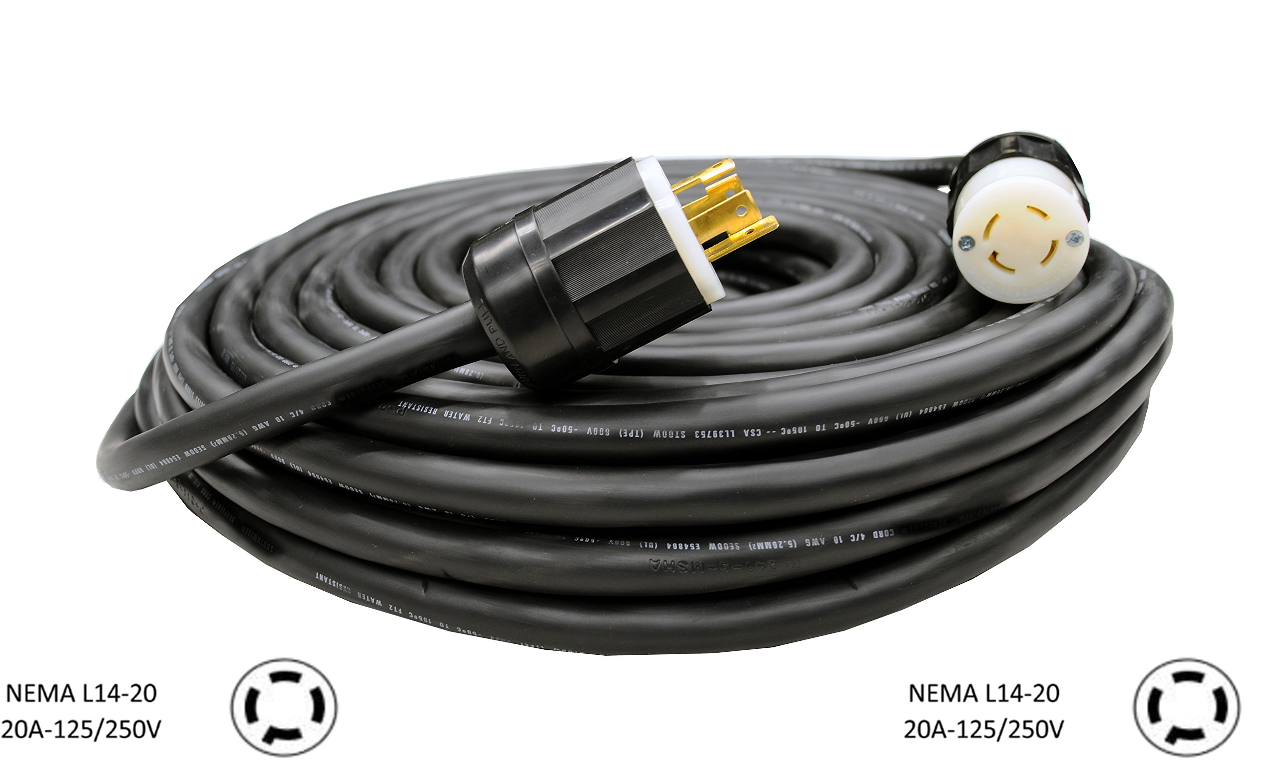 NEMA L14-20 Generator Extension Cord - 20A, 125/250V, 10/4 SOOW Heavy Duty Industrial Cable (50 Ft.)