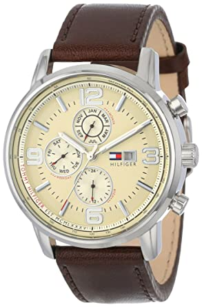 da419d29 Image Unavailable. Image not available for. Color: Tommy Hilfiger Men's  1710337 Stainless Steel Brown Leather Watch